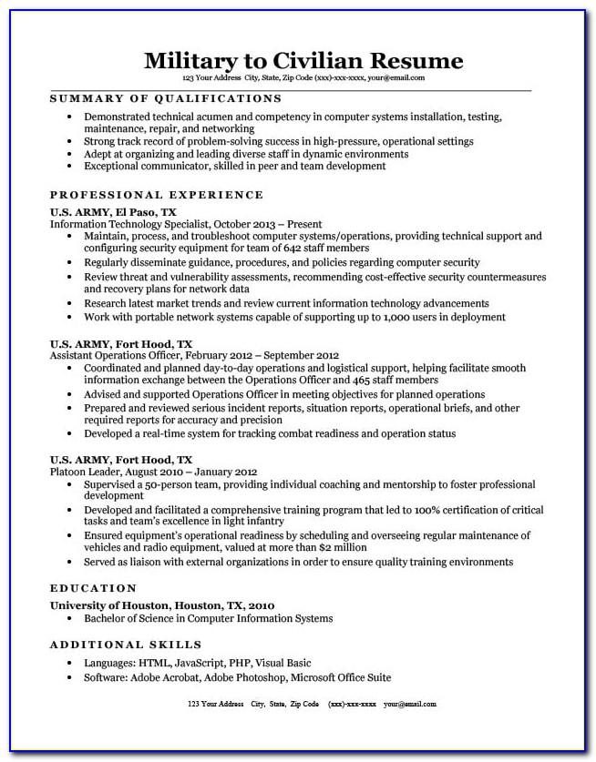 Military To Civilian Resume Templates