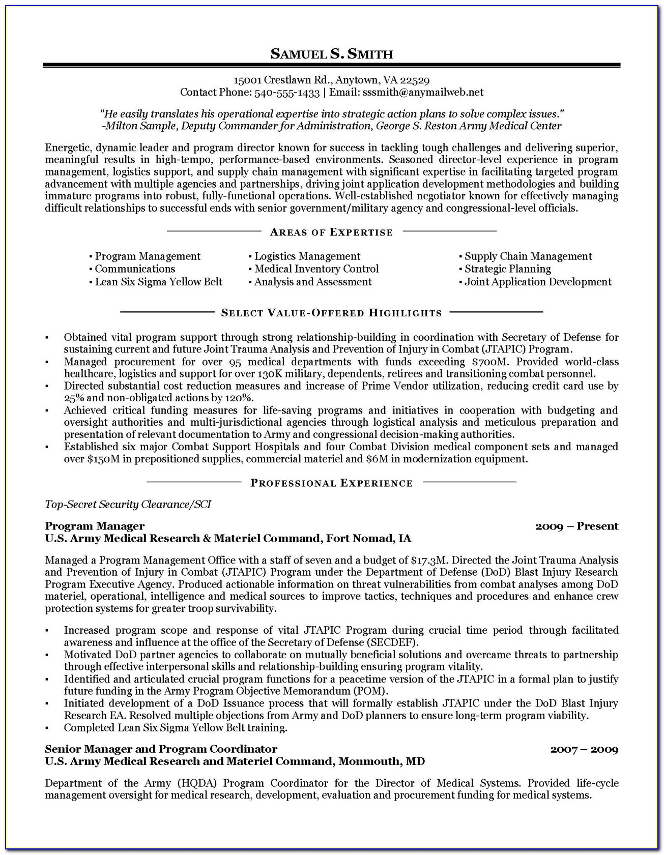 Military To Civilian Transition Resume Samples