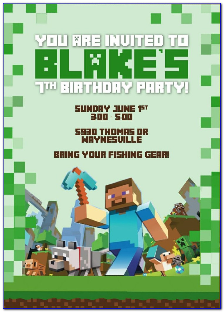 Minecraft Birthday Invitation Card Template