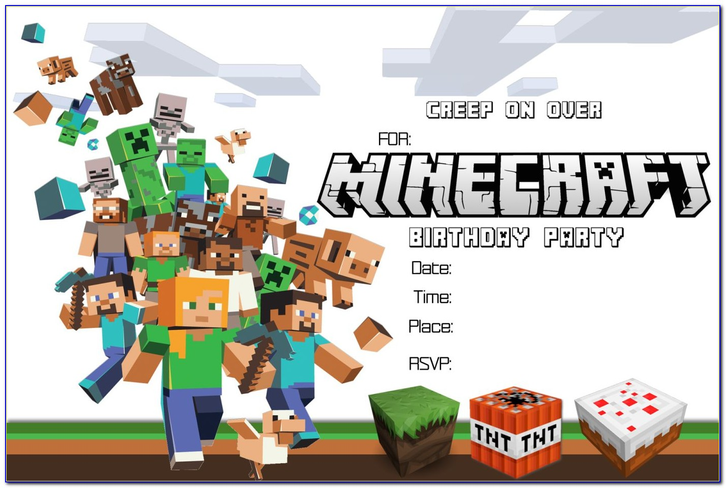 Minecraft Birthday Invitation Template Free Download