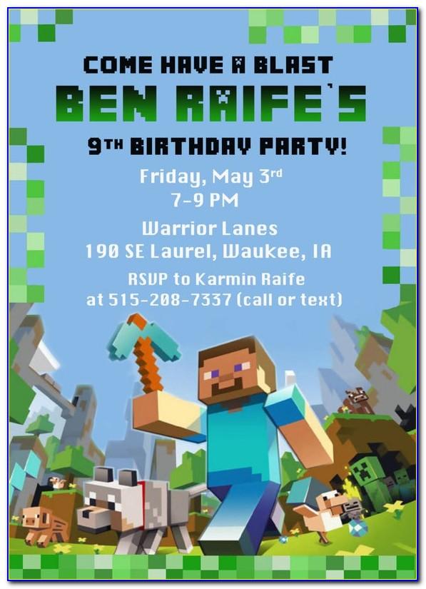 Minecraft Birthday Invitation Template