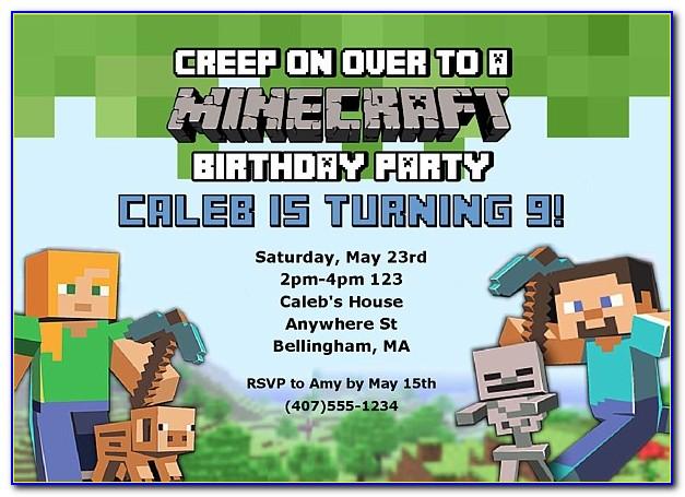 Minecraft Birthday Invitations Editable