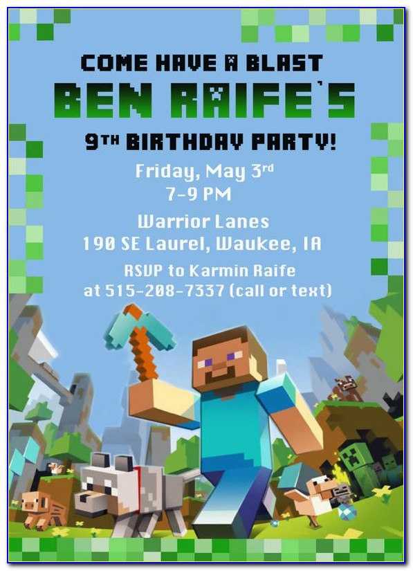 Minecraft Birthday Invitations Free Template