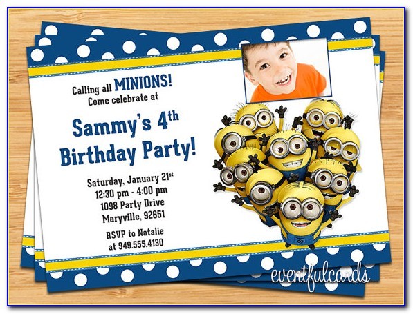 Minion Birthday Invitation Card Template