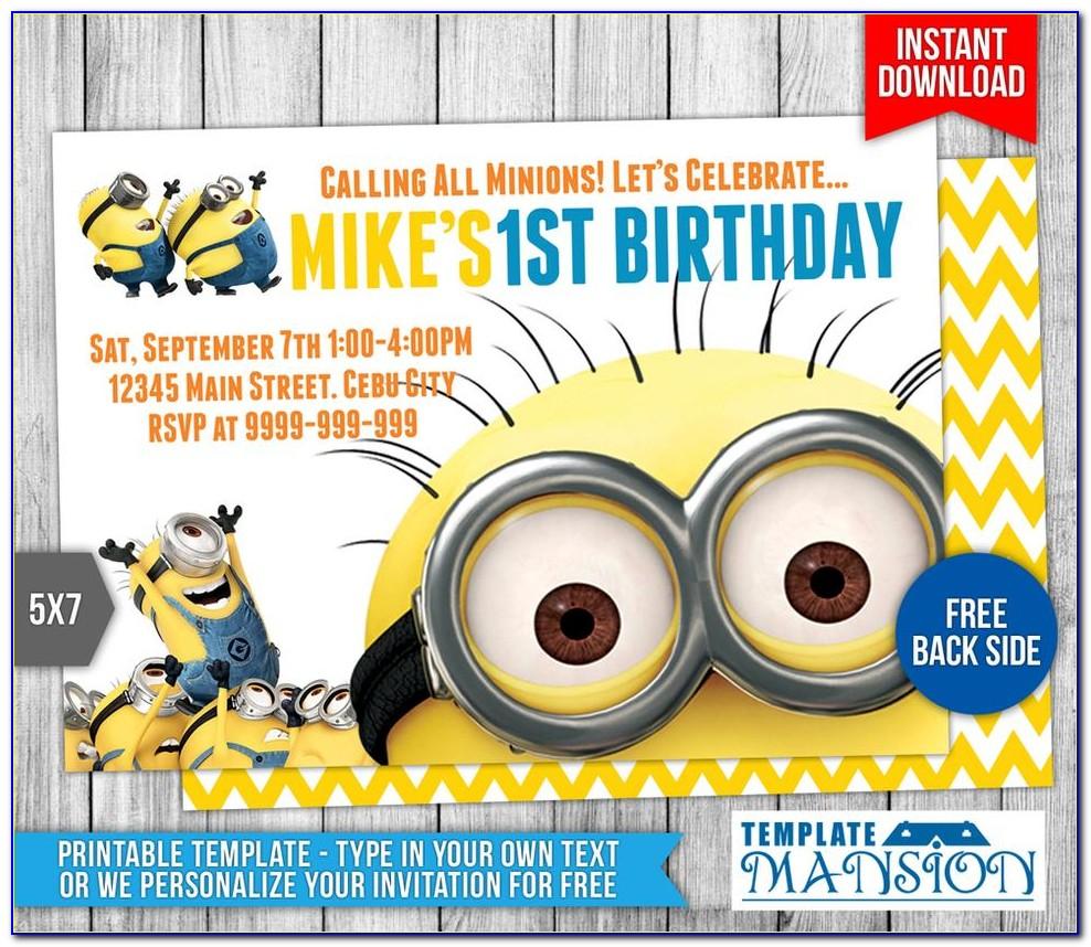Minion Birthday Invitations Templates Free