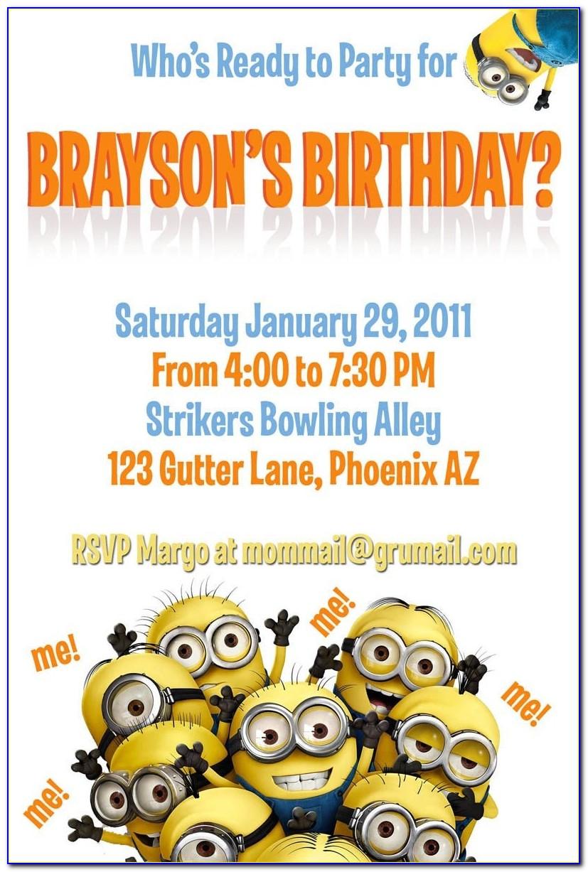 Minion Invitation Template Free