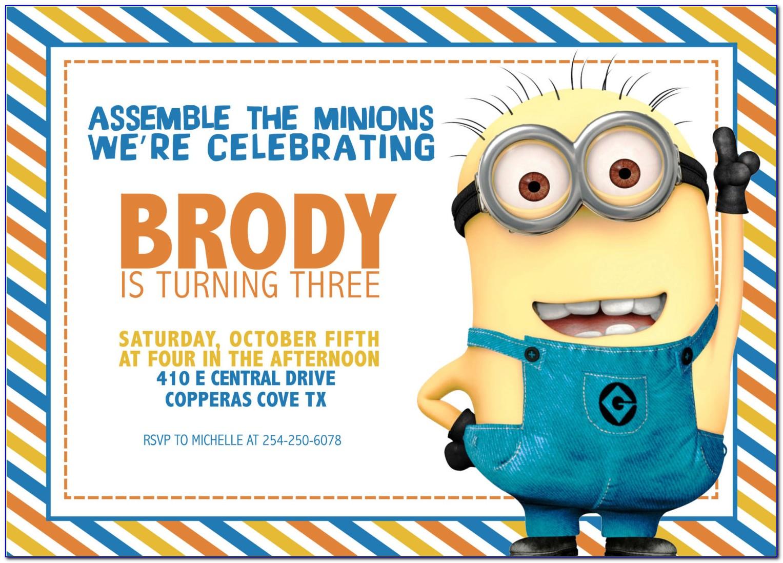 Minion Themed Birthday Invitation Template