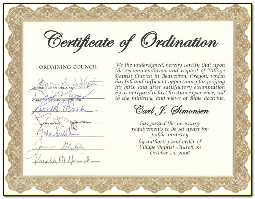 Minister Ordination Certificate Templates