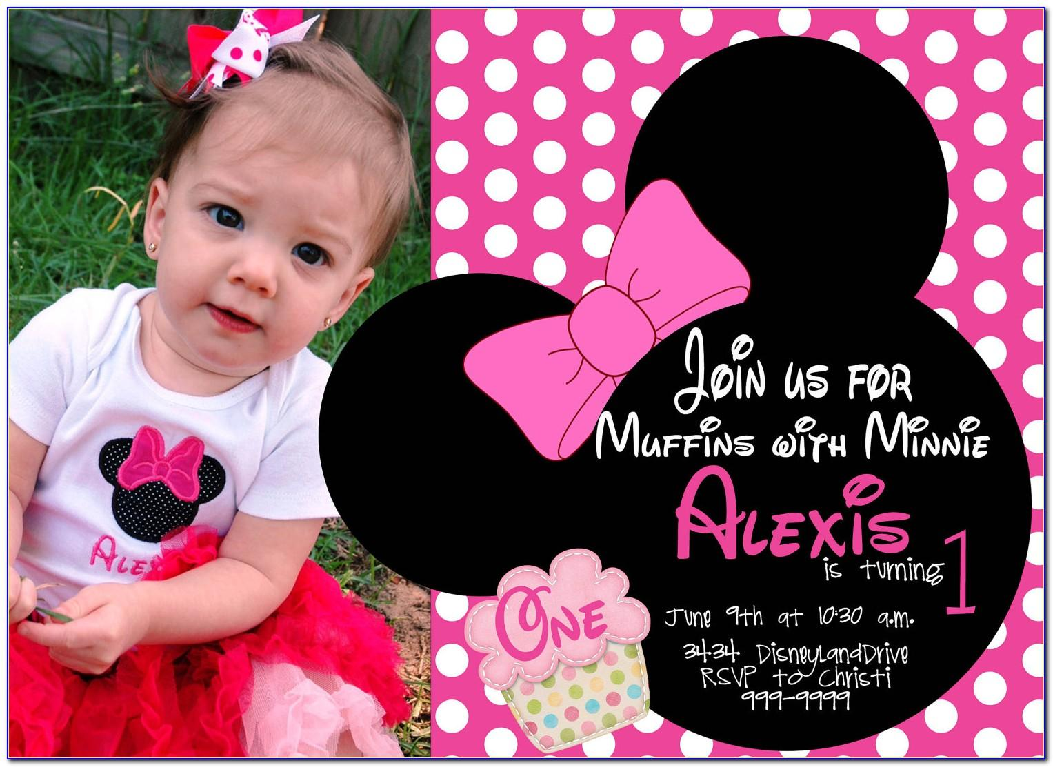 Minnie Mouse 1 St Birthday Invitation Template
