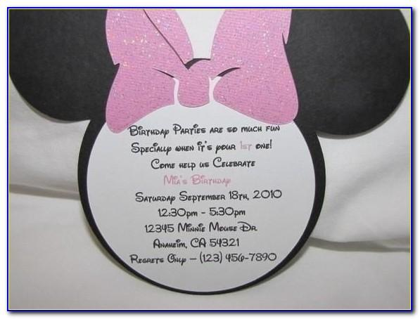 Minnie Mouse 5th Birthday Invitation Wording