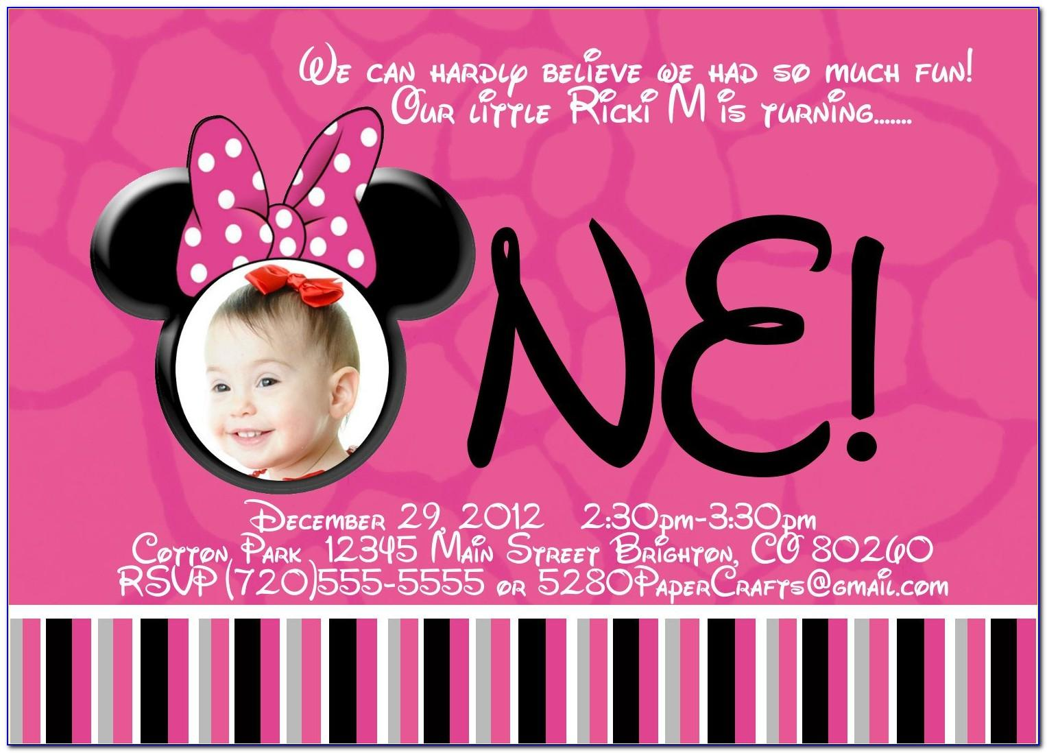 Minnie Mouse Birthday Invitation Templates