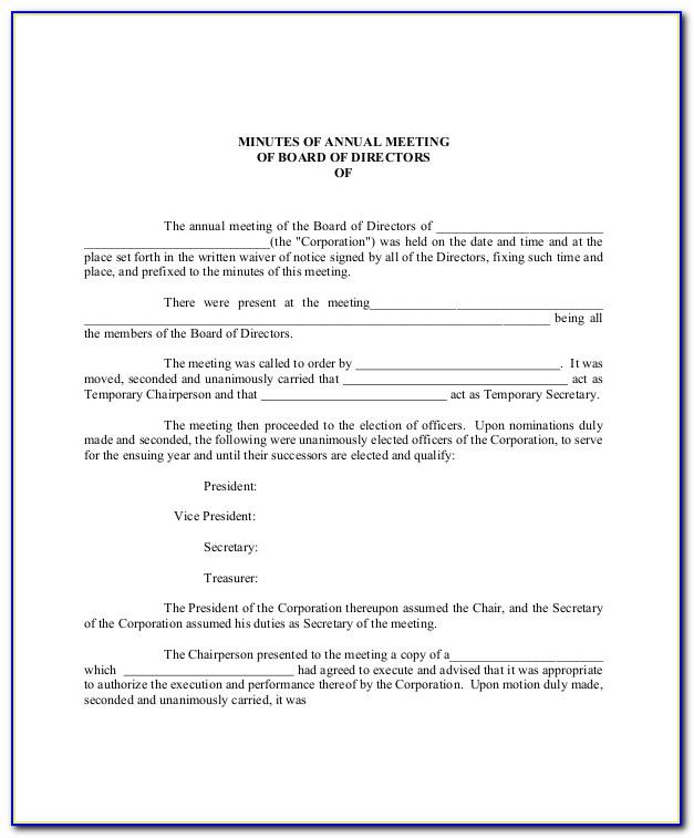 Minutes Of Annual Shareholders Meeting Form