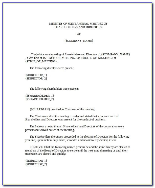Minutes Of Meeting Of Shareholders Templates