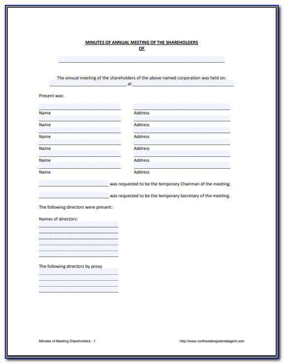 Minutes Of Meeting Shareholders Template