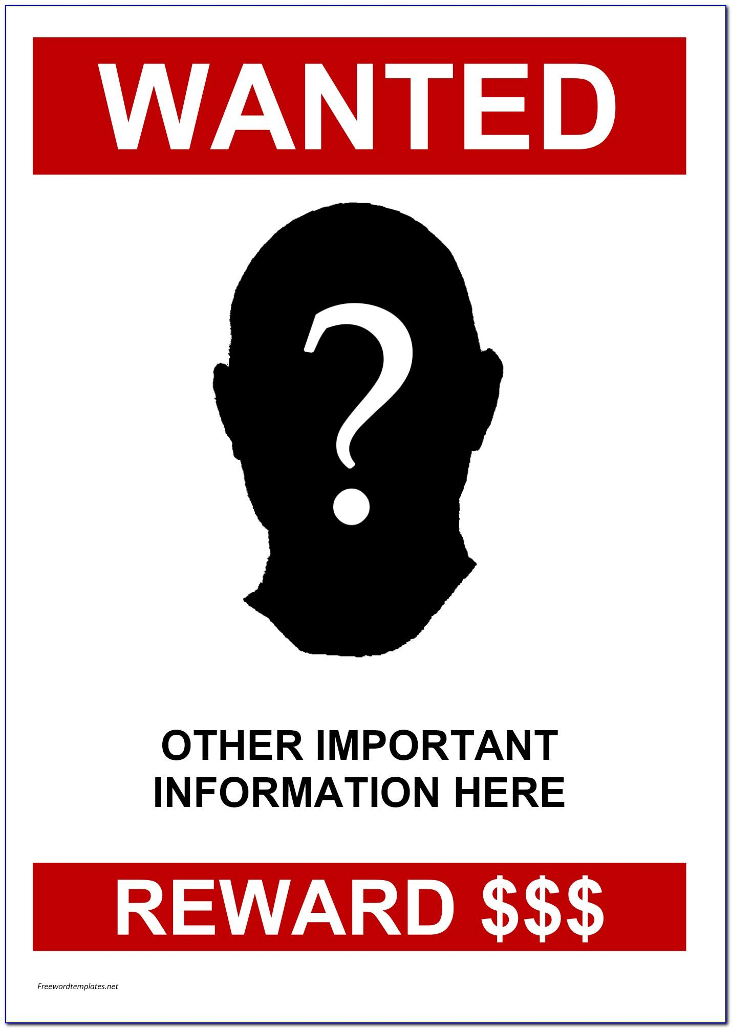 Missing Person Reward Poster Template