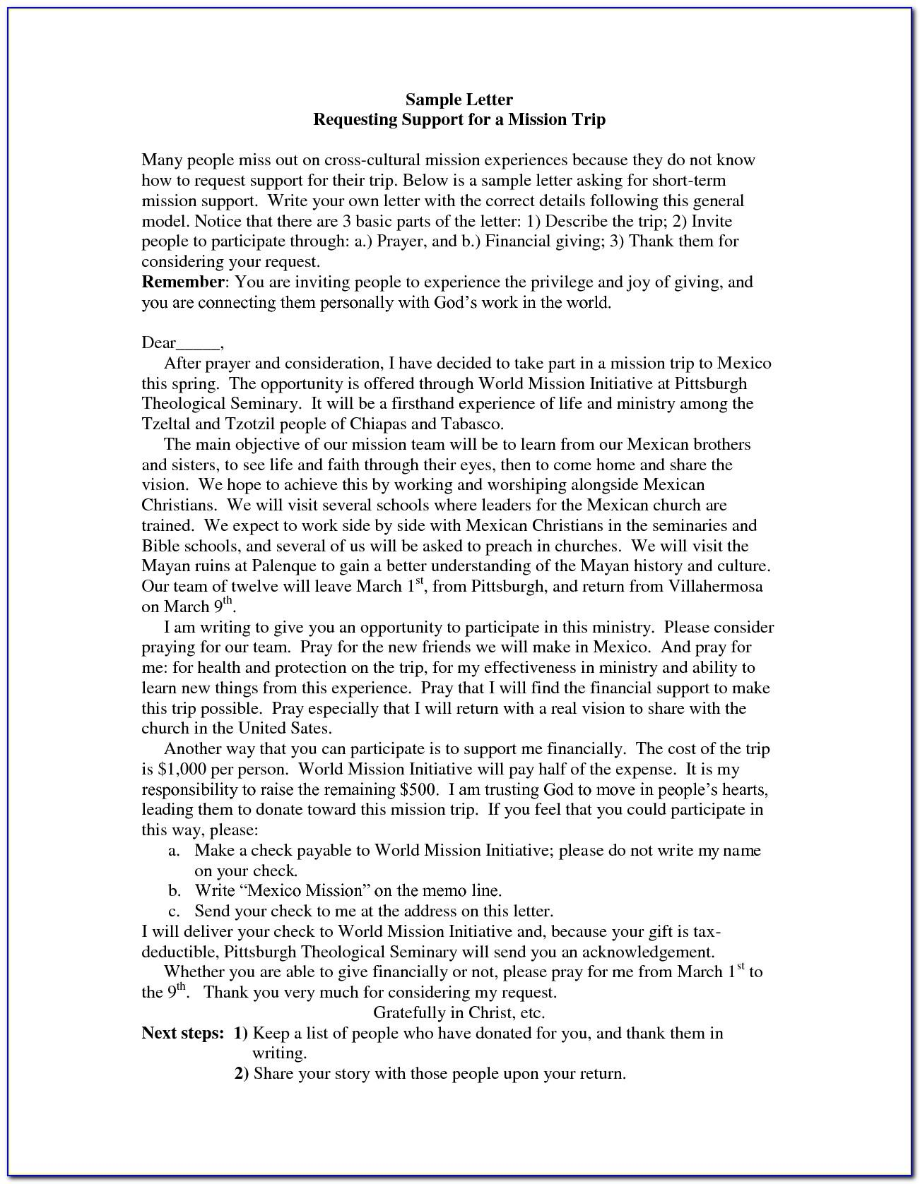 Mission Trip Fundraising Letter Template