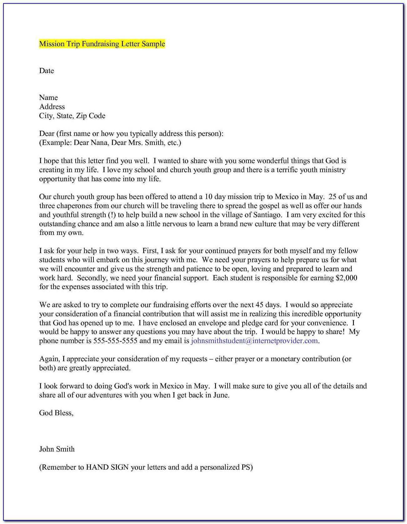 Mission Trip Support Letter Template