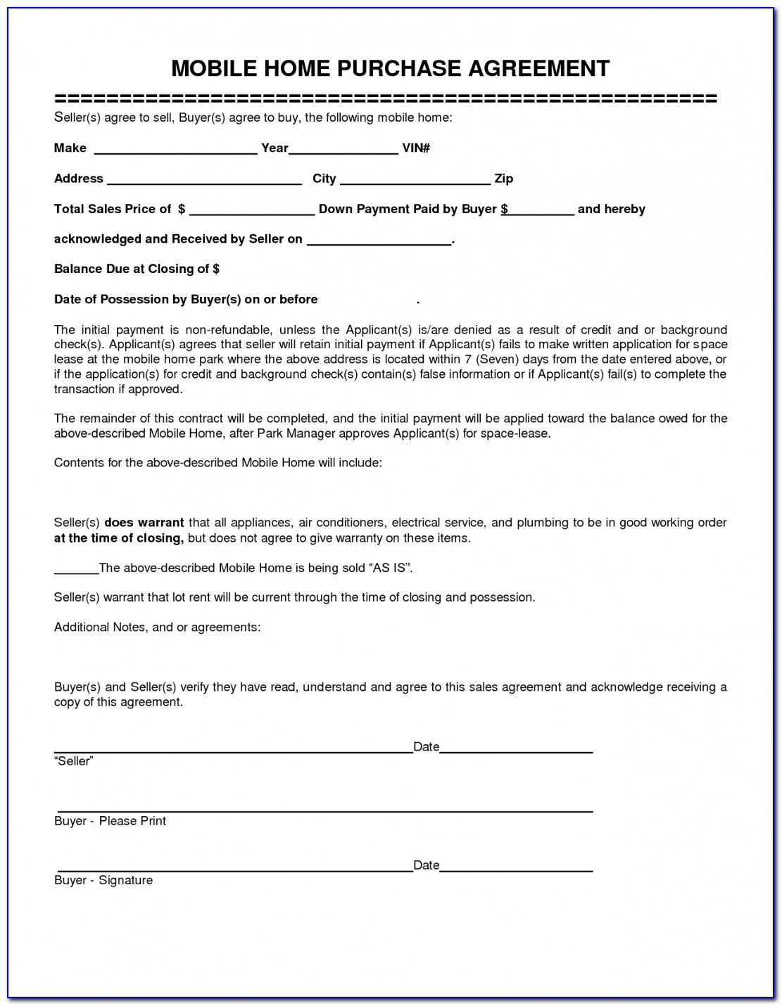 Mobile Home Purchase Agreement Template Free