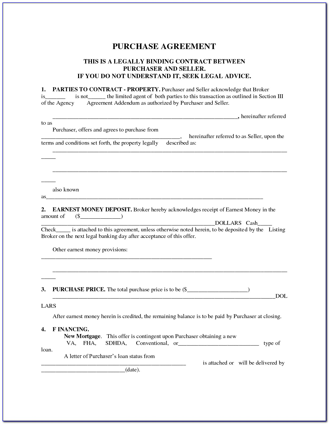 Mobile Home Purchase Contract Template