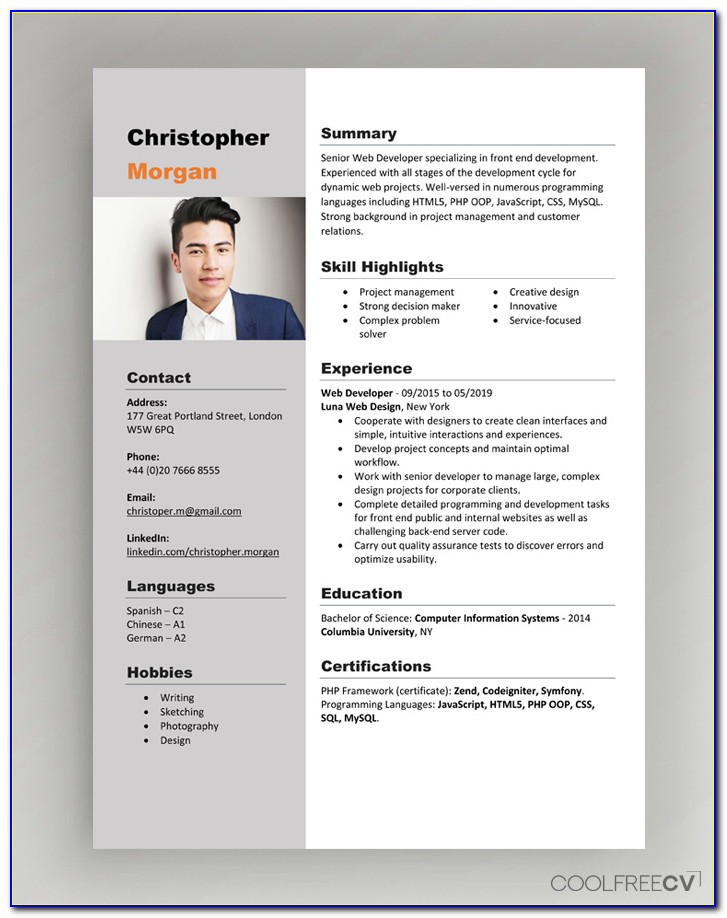 Modern Cv Template Word Free Download With Photo