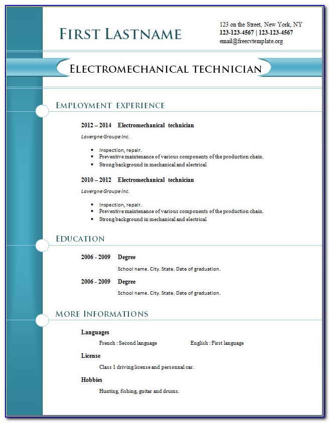 Modern Cv Templates Free Download Word Document