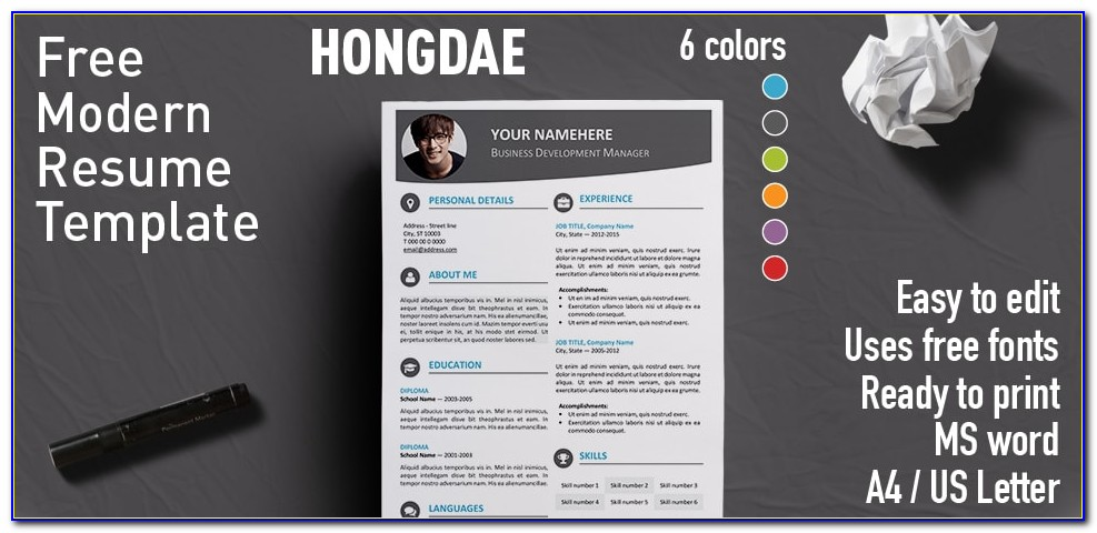 Modern Resume Template Word File