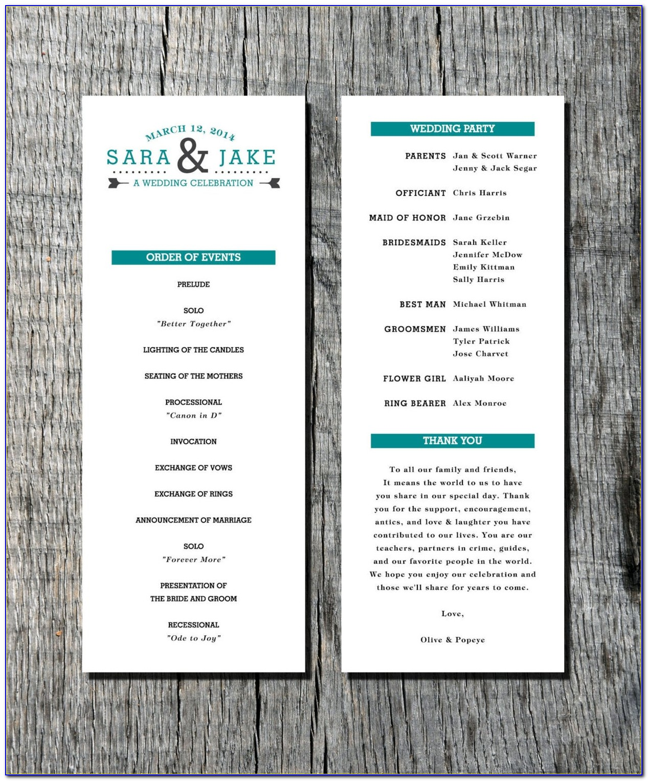 modern wedding program samples