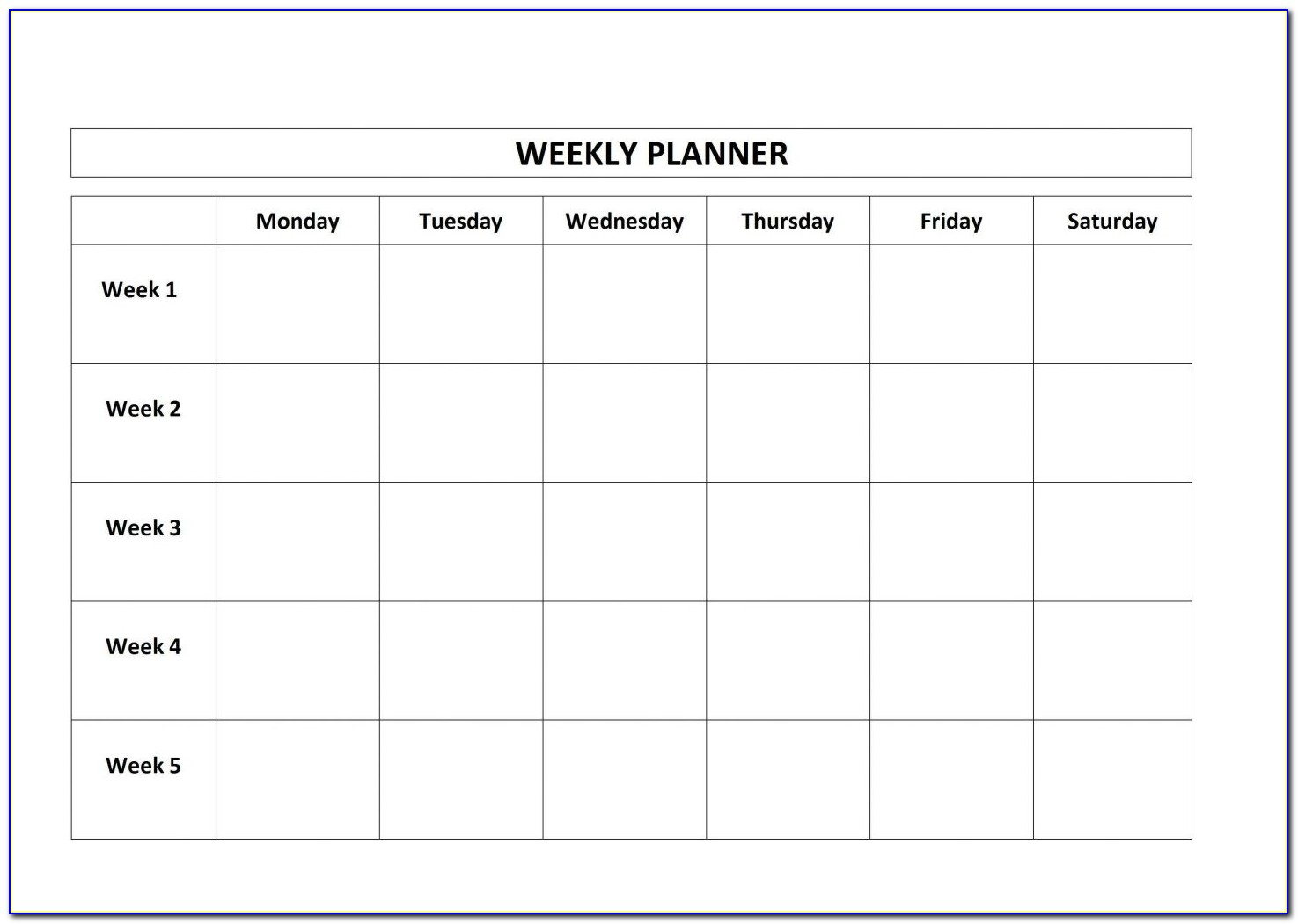Monday Through Friday Calendar Template Word
