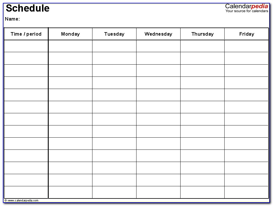 Monday Through Friday Class Schedule Template