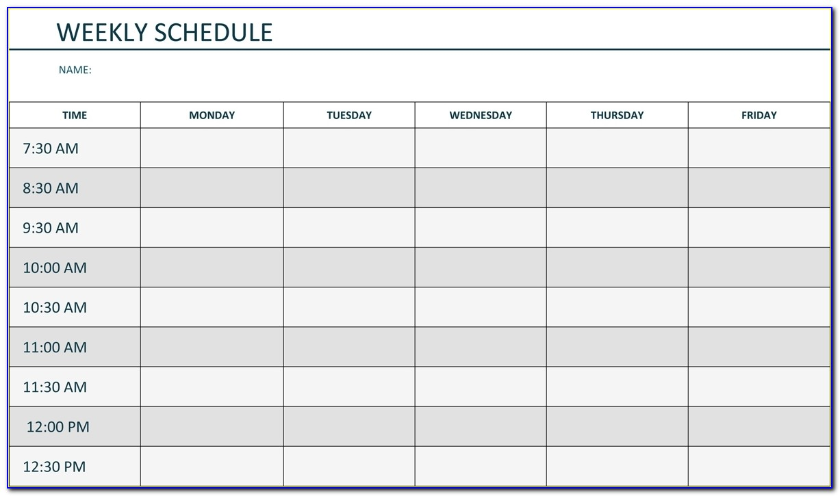 Monday Through Friday Daily Schedule Template