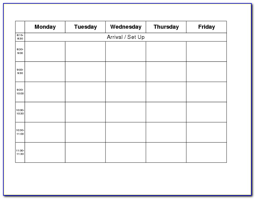 Monday Through Friday Hourly Schedule Template