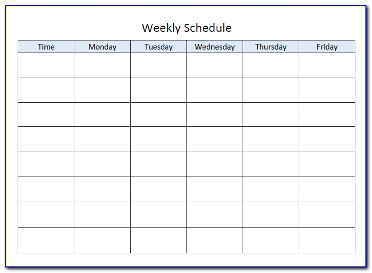 Monday Through Friday School Schedule Template