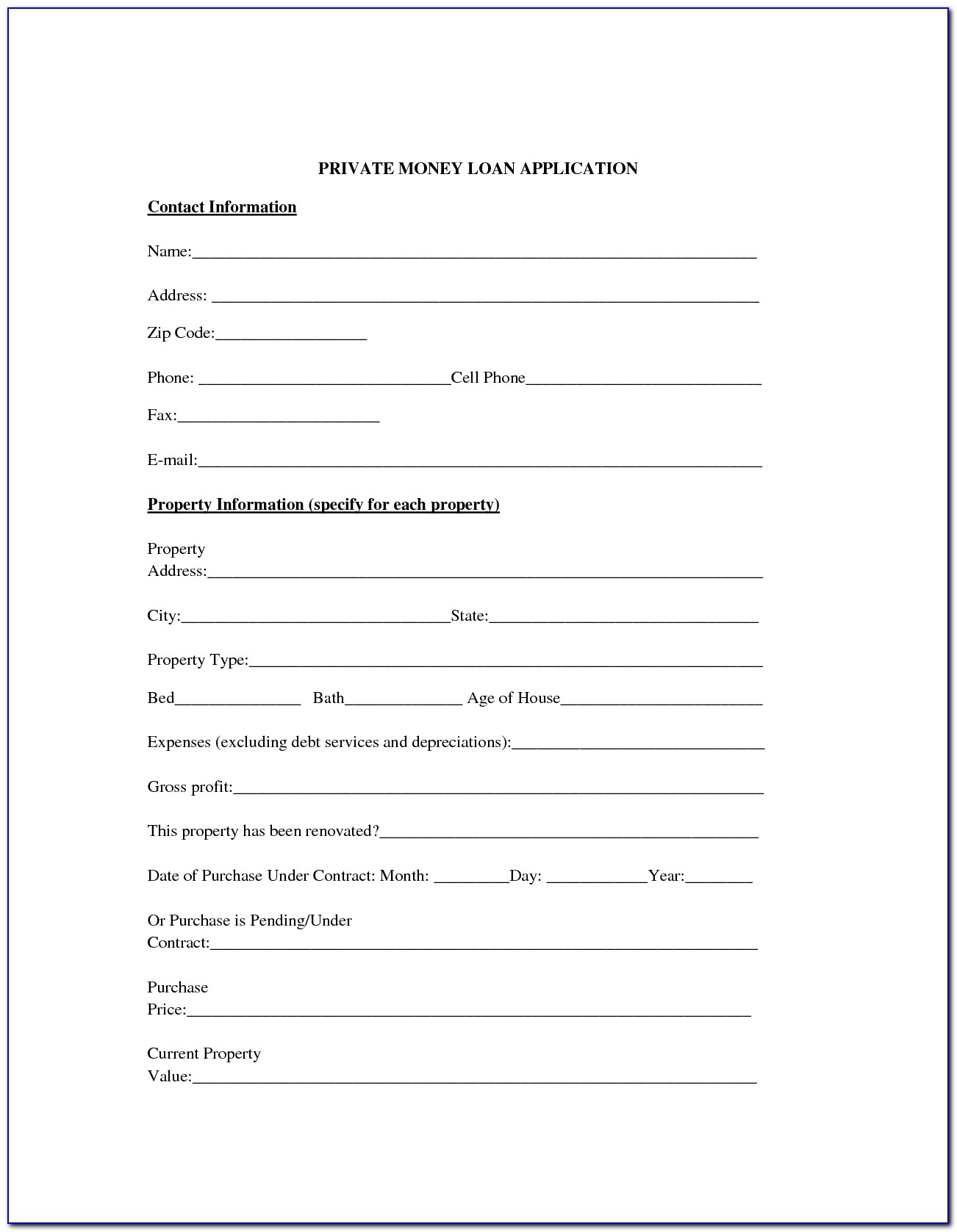 Money Borrowing Agreement Form