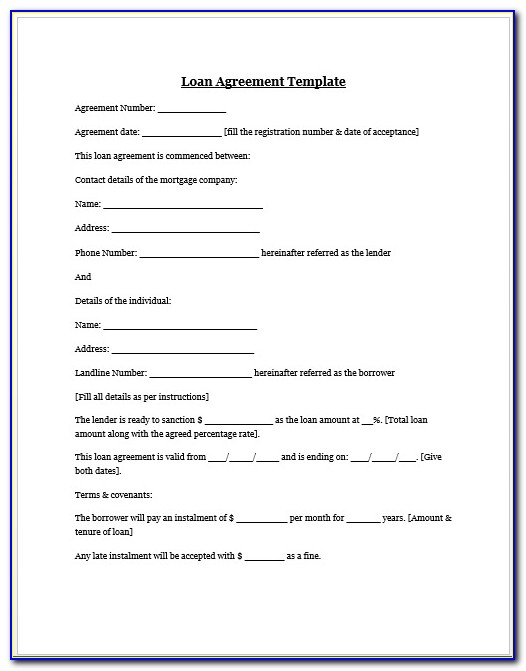 Money Lending Contract Template Free
