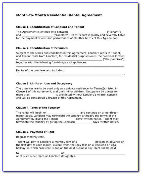 Month To Month Lease Agreement Form Texas
