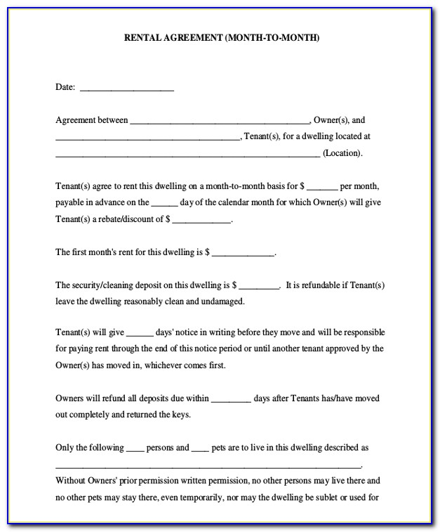 Month To Month Lease Agreement Template Free