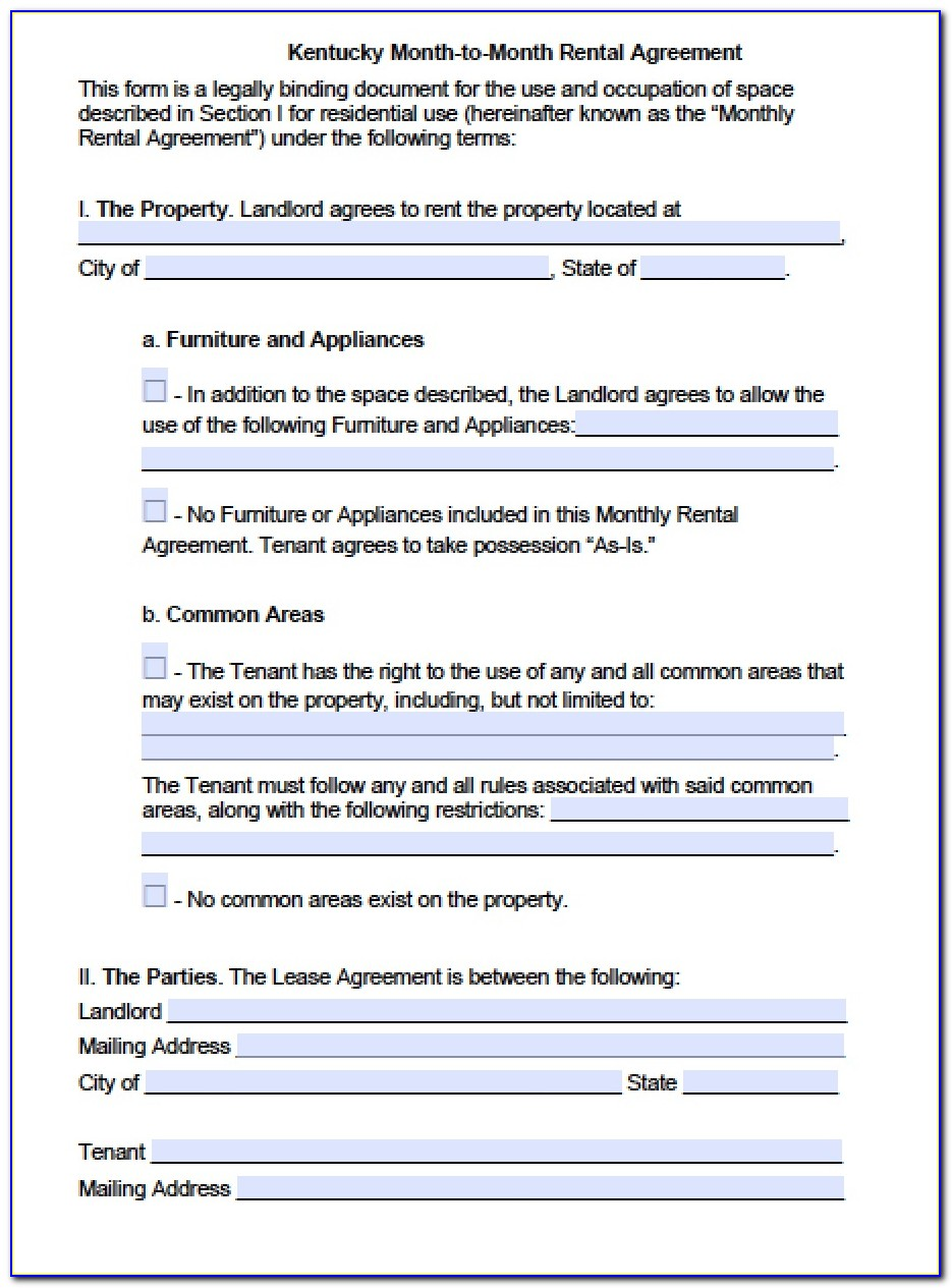 Month To Month Lease Form Free