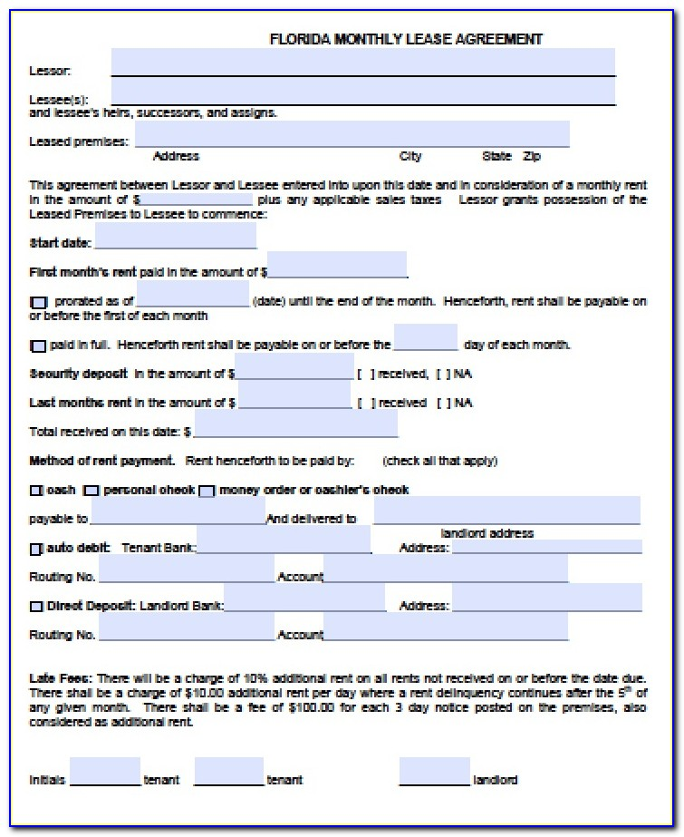 Month To Month Lease Format