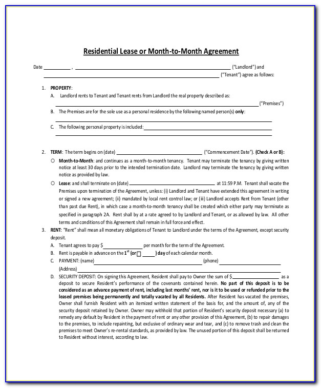 Month To Month Lease Template Chicago