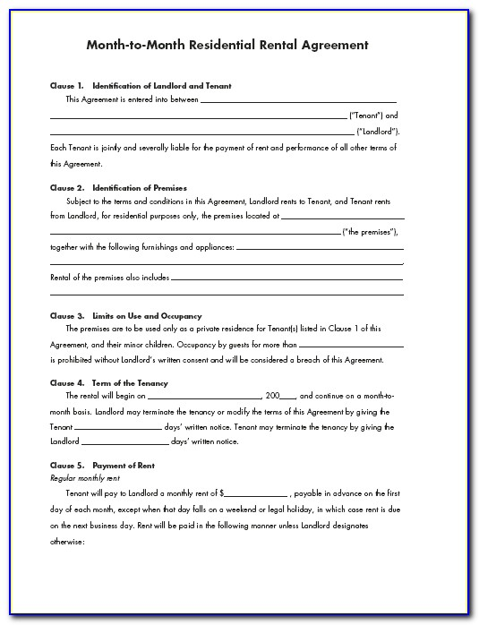 Month To Month Rental Agreement Form Ontario