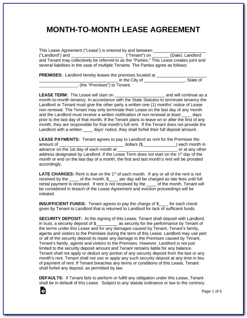 Month To Month Rental Agreement Sample