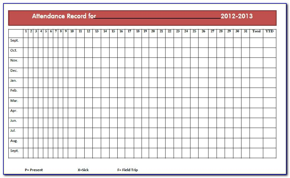 Monthly Attendance Record Form
