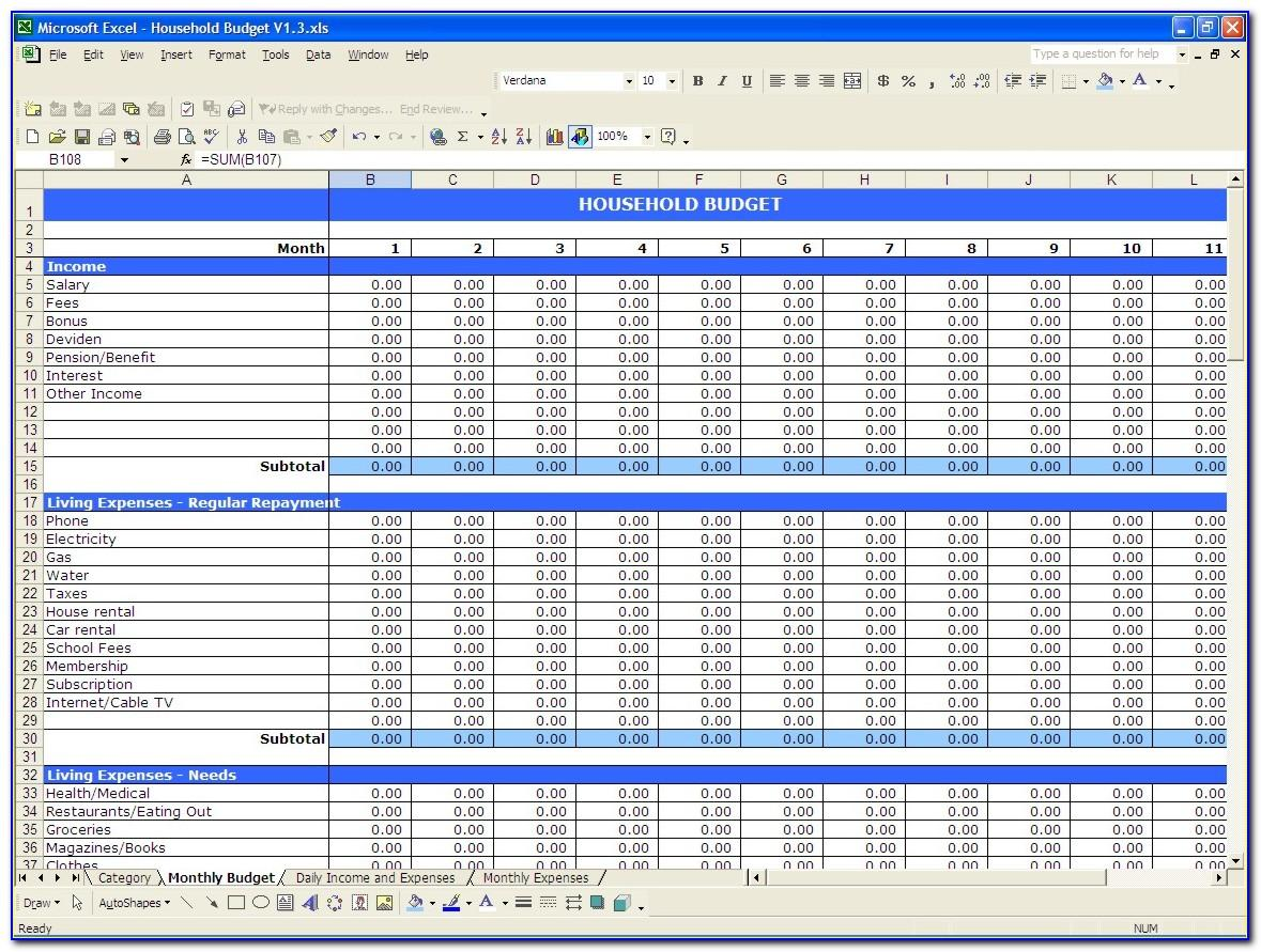 Monthly Budget Excel Example