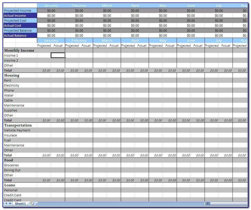 Monthly Budget Excel Spreadsheet Template Download
