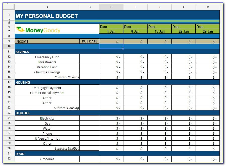 Monthly Budget Forms Free