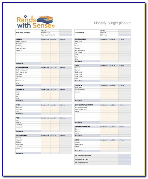 Monthly Budget Planner Excel Uk