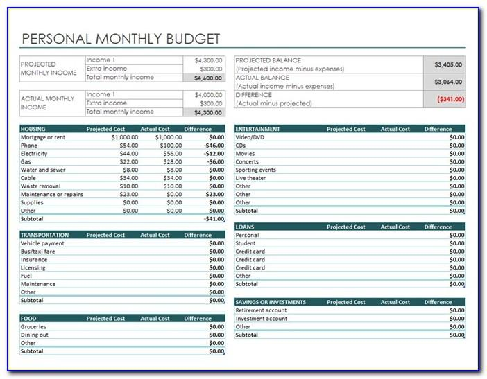 Monthly Budget Planner Template Free