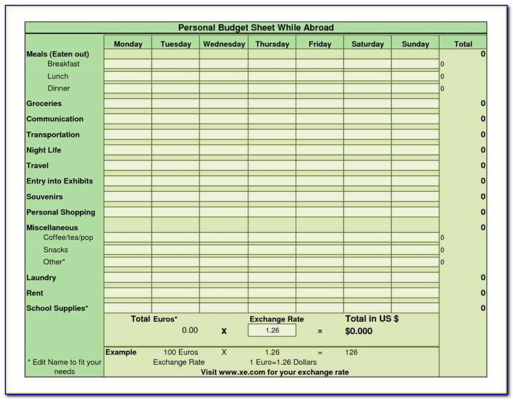 Monthly Budget Planner Template Word