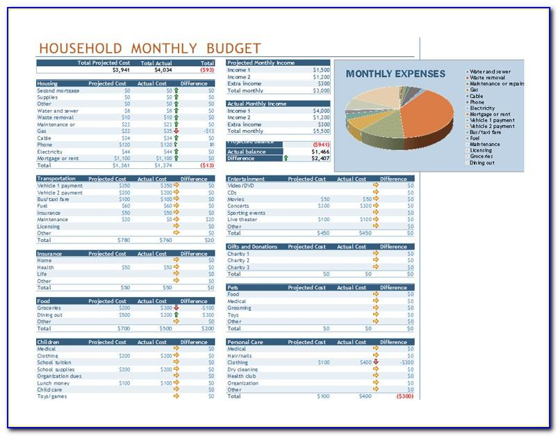 Monthly Budget Sheet Excel Template