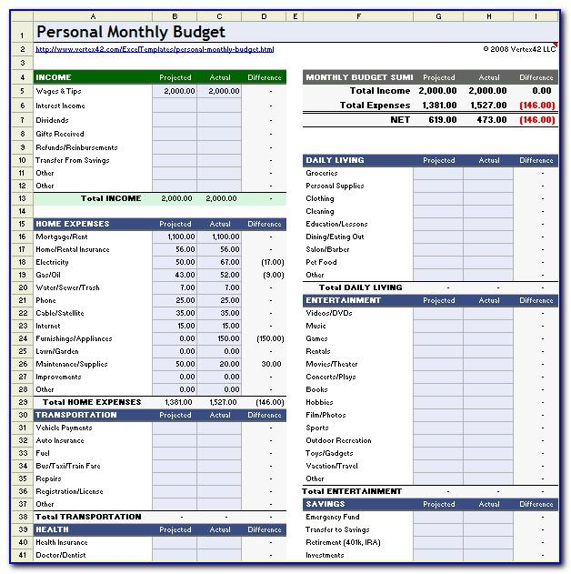 Monthly Budget Sheet Template Free